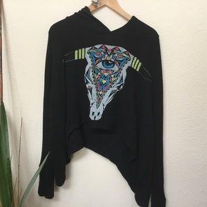 Lauren Moshi Black Cow Skull Thermal Hoodie-XS/S